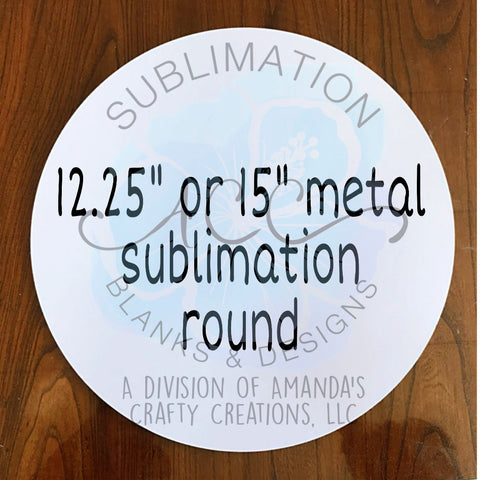 ROUND Sublimation metal sign, gloss white, single-sided RTS