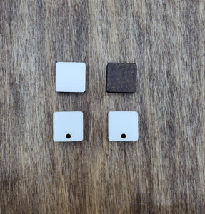 Sublimation hardboard blanks, 0.5 inch square sublimation blanks, half inch square stud earring blanks for sublimation, holes or without