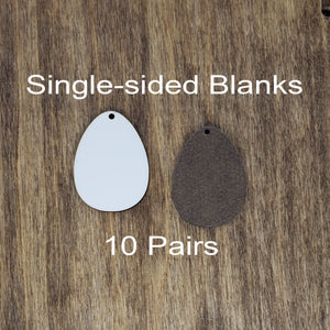 "Sublimation hardboard blanks, 1.5"" egg shaped sublimation blanks, SINGLE-sided egg shaped earring blanks for sublimation"
