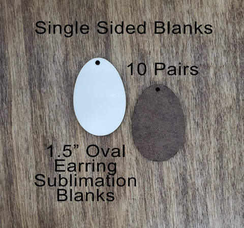 Sublimation hardboard blanks, oval earring sublimation blanks, SINGLE-sided oval earring shape blanks for sublimation