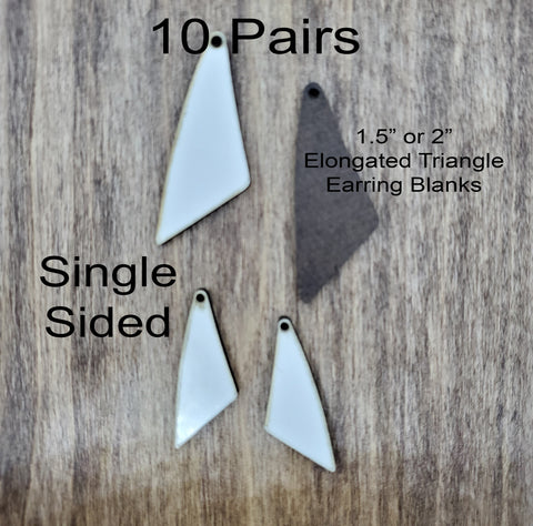 Sublimation hardboard blanks, elongated triangle earring sublimation blanks, SINGLE-sided elongated earring shape blanks for sublimation