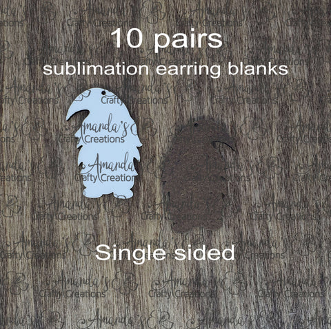 Sublimation hardboard blanks, gnome earring sublimation blanks, SINGLE-sided gnome earring shape blanks for sublimation