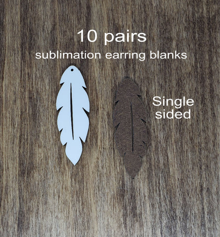 Sublimation hardboard blanks, feather earring sublimation blanks, SINGLE-sided feather earring shape blanks for sublimation