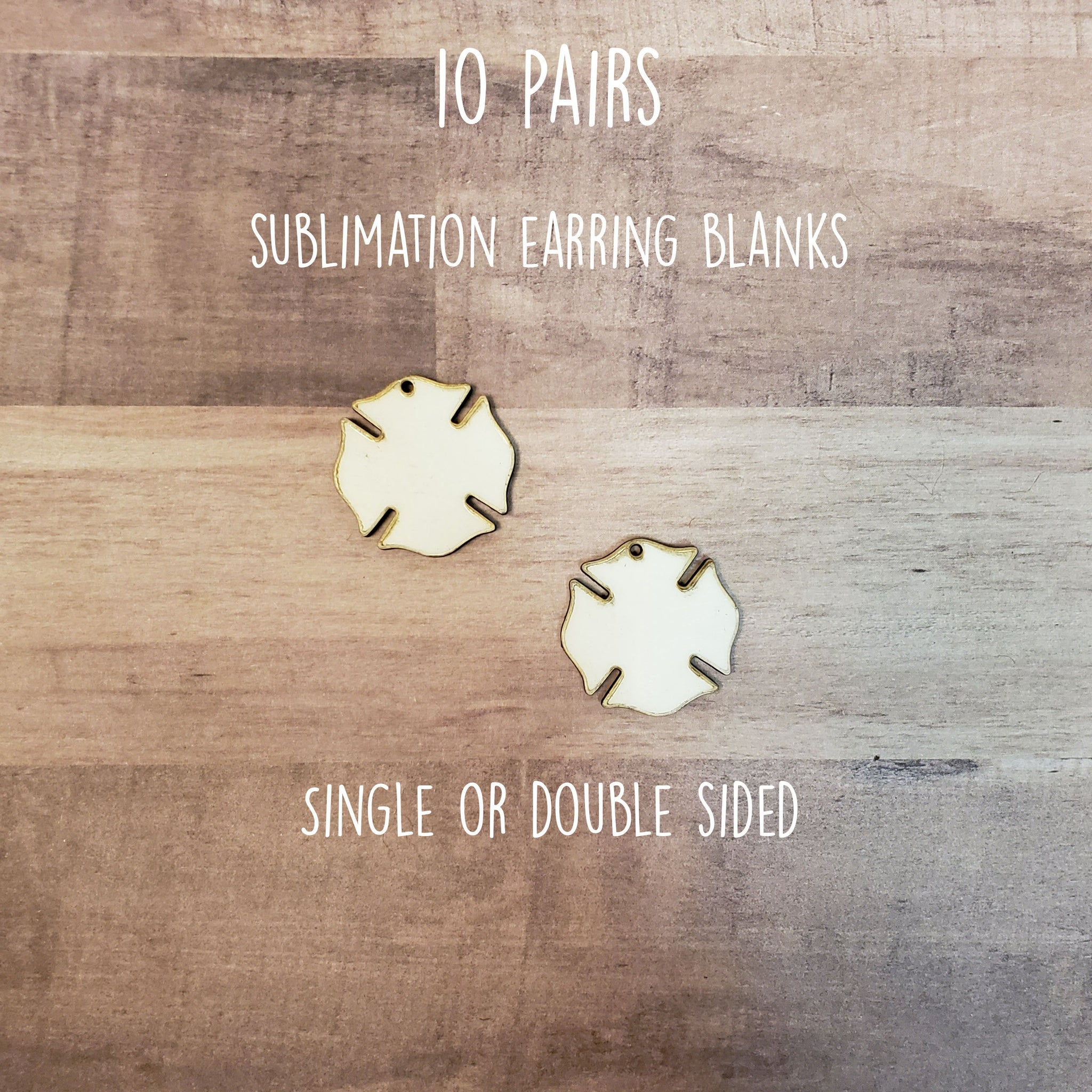"Sublimation hardboard blanks, 1.25""  Maltese cross shaped sublimation blanks, SINGLE or DOUBLE-sided maltese earring blanks for sublimation"