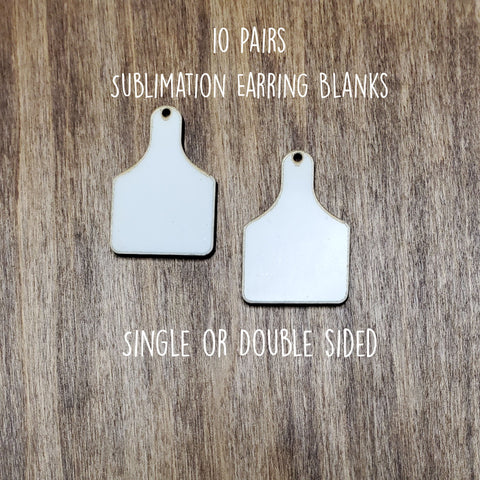 Sublimation hardboard blanks, cow tag earring sublimation blanks, SINGLE or DOUBLE-sided cow tag earring shape blanks for sublimation