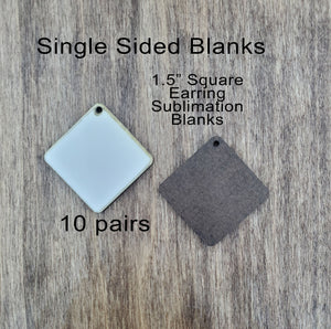 Sublimation hardboard blanks, square earring sublimation blanks, SINGLE-sided square earring shape blanks for sublimation