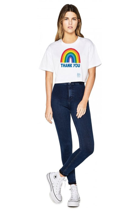 Adult Women's Thank You NHS Cropped Loose Fit T-Shirt - Kindred