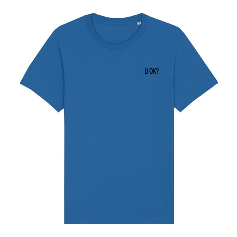 U OK? BLACK EMBROIDERED LOGO ROYAL BLUE T-SHIRT