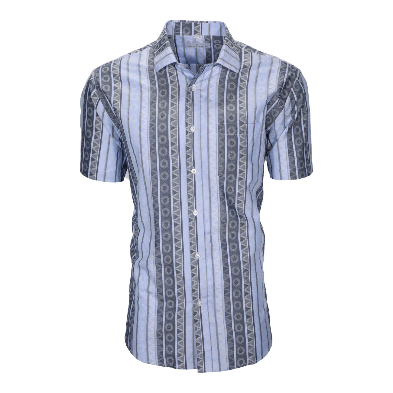 Blue and navy men's short sleeve dress shirt with a vertical circle and triangle pattern.
