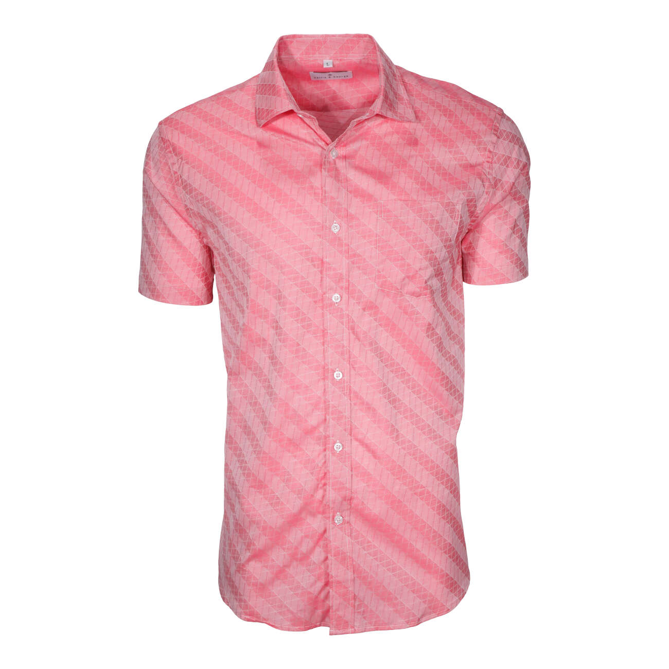 Salmon men's short sleeve dress shirt.