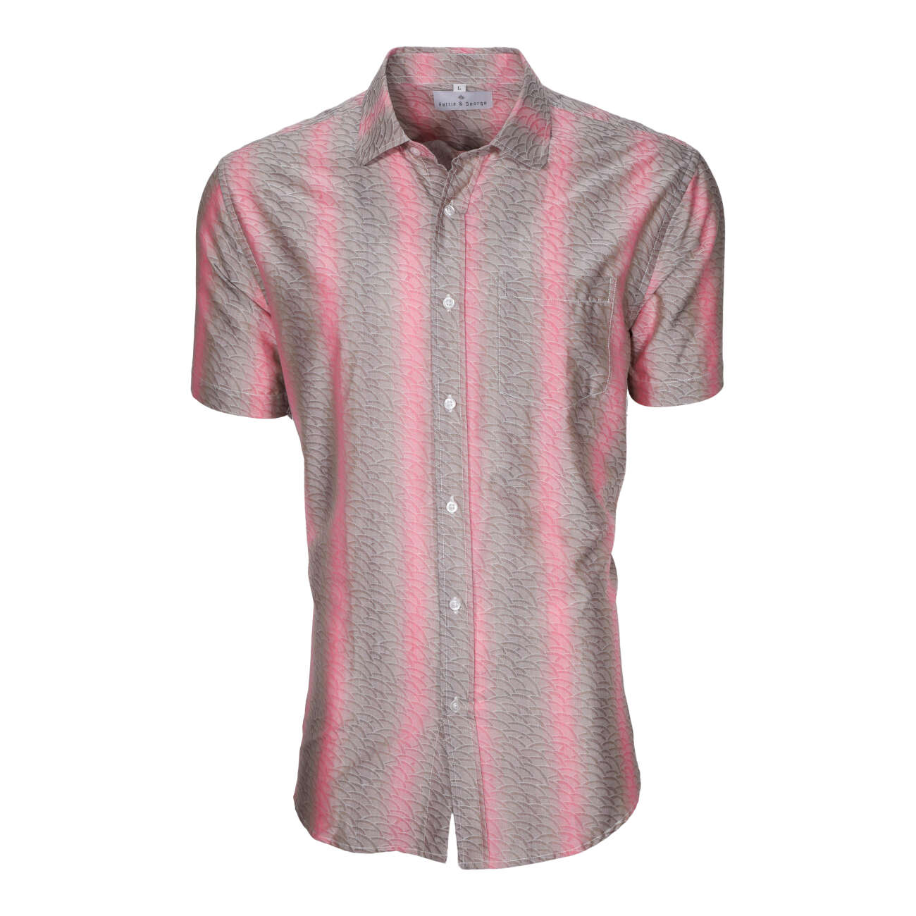 Coral men's short sleeve dress shirt.