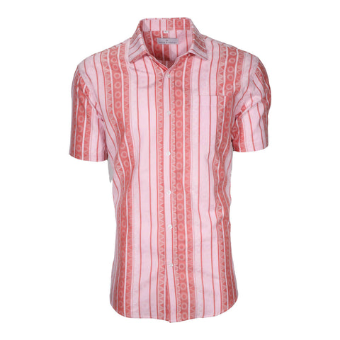 Front of shirt with verticle stripe, circle, and triangle pattern