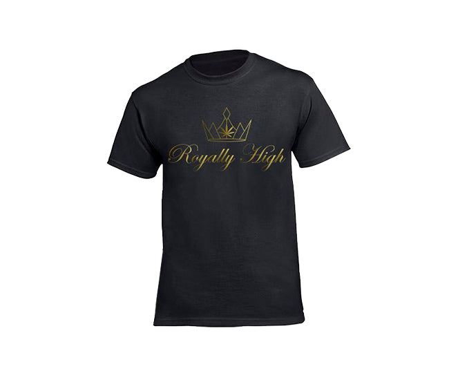 casual 420 black t-shirt for men with gold design
