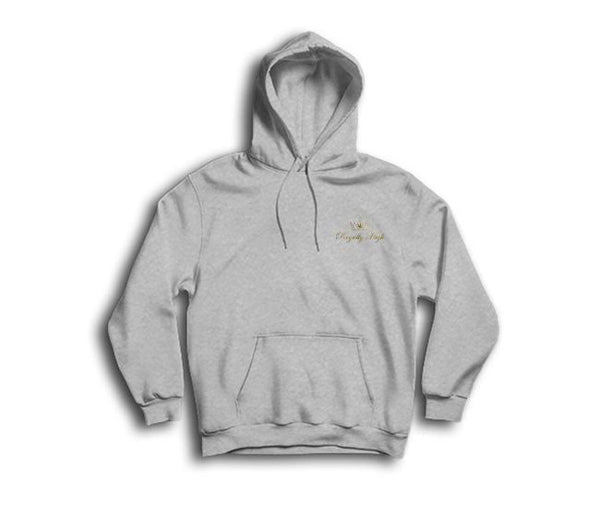 casual 420 heather grey hoodie with royally high logo