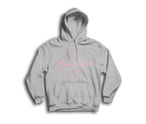 Ladies Heather Grey Hoodie with Pink Royally High Design