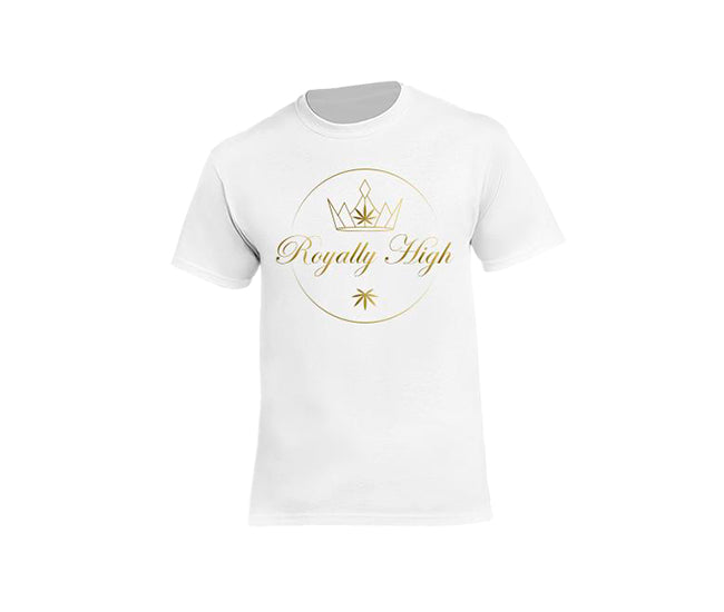 casual 420 white t-shirt for men with Royally High Logo