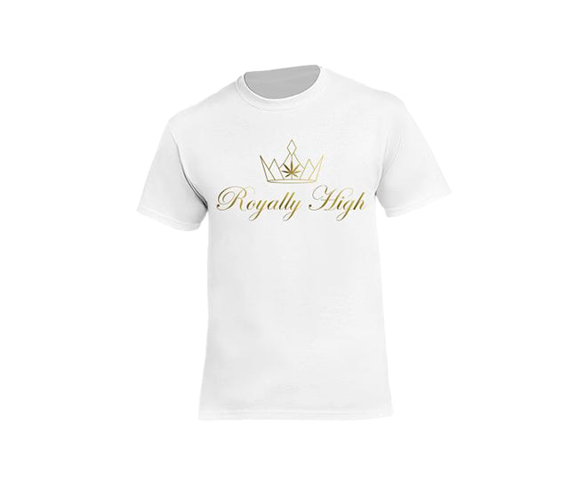 casual 420 white t-shirt for men with gold design