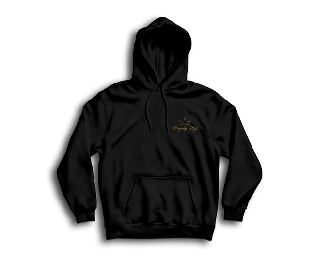 casual royally high black hoodie with gold logo