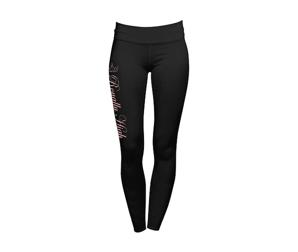 Royally High Black Leggings with Pink Design