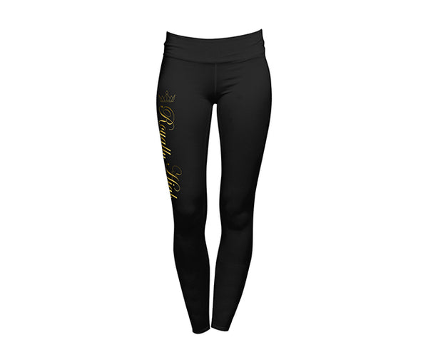 Royally High Black Leggings with Gold Design