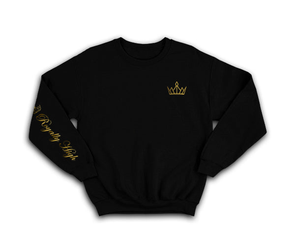 Black sweatshirt with gold Royally High Crown