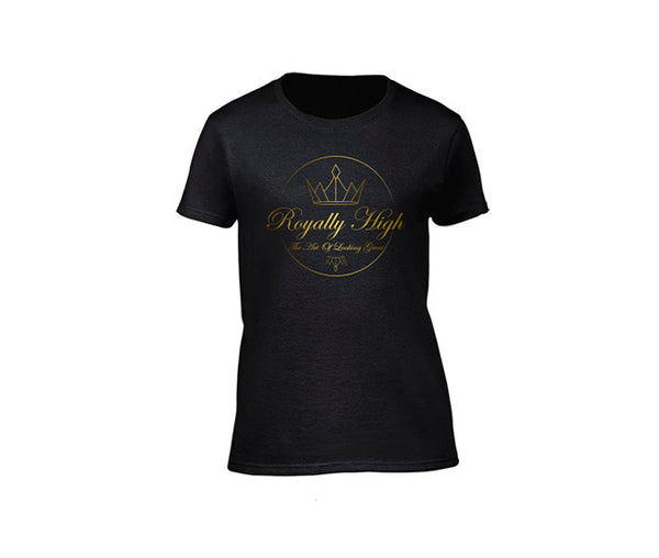Womens Black casualwear T-shirt with Gold Royally High Design