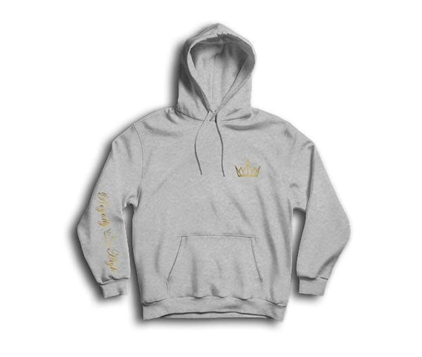 Heather Grey Hoodie with Gold Royally High Crown