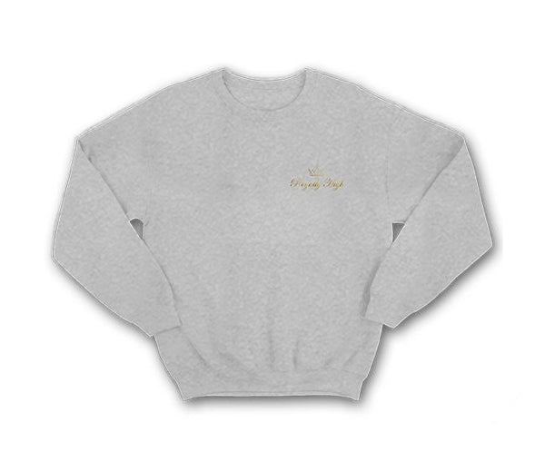 casual royally high heather grey sweatshirt with gold logo