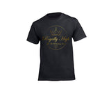 Royally High mens black t-shirt with large gold design