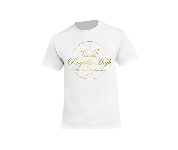 Royally High mens white t-shirt with large gold design