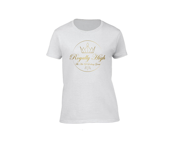Womens White casualwear T-shirt with Gold Royally High Design