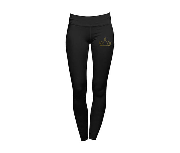 casual black leggings with gold crown