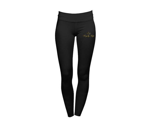 casual black leggings with royally high gold logo