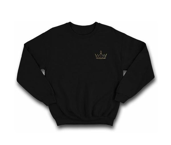 casualwear black sweatshirt with gold crown