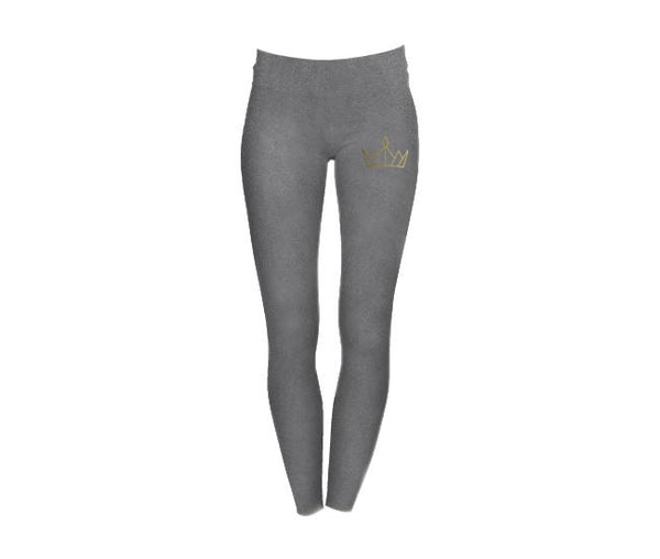 casual grey leggings with gold crown