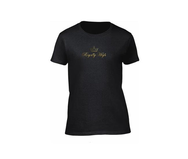 Black casualwear t shirt for ladies with gold logo