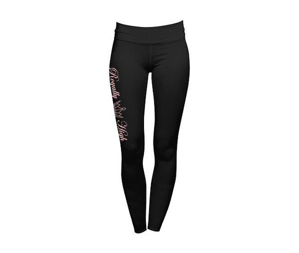 Royally High Black Leggings with pink print