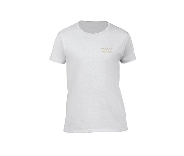 casual white t-shirt for ladies with gold crown