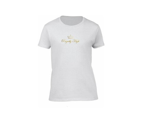 white casualwear t shirt for ladies with gold logo