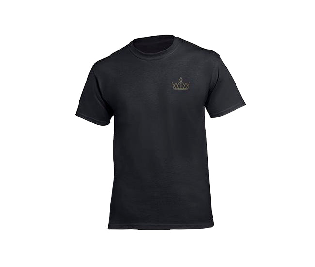casual black t-shirt for men with gold crown