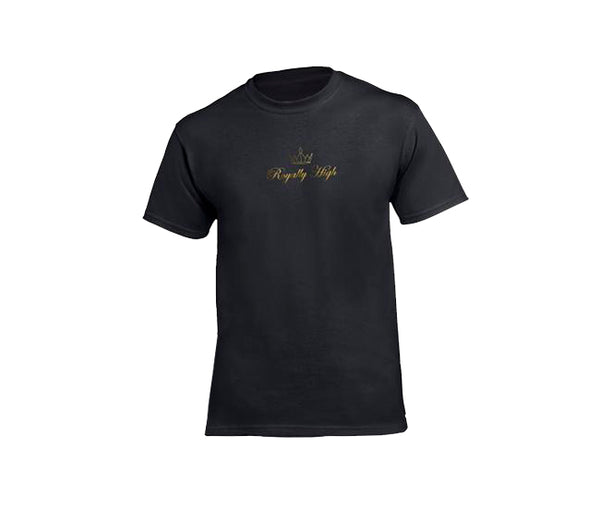 Black casualwear t shirt for men with gold logo