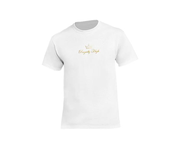 white casualwear t shirt for men with gold logo