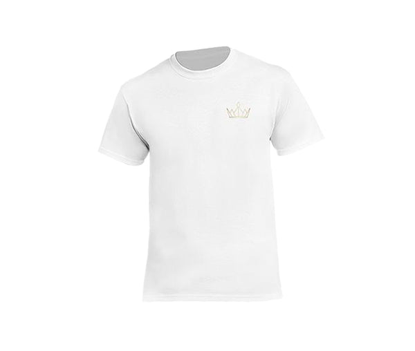 casual white t-shirt for men with gold crown