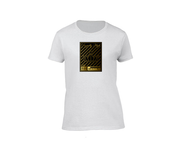 Ladies White T-Shirt with Gold Crown