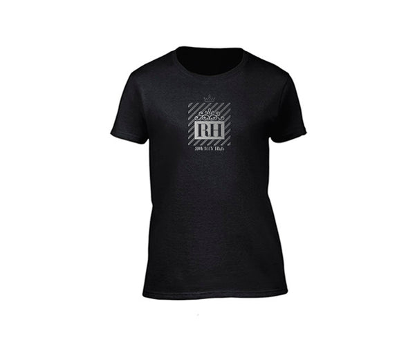 Black streetwear T-shirt with silver rh design for ladies