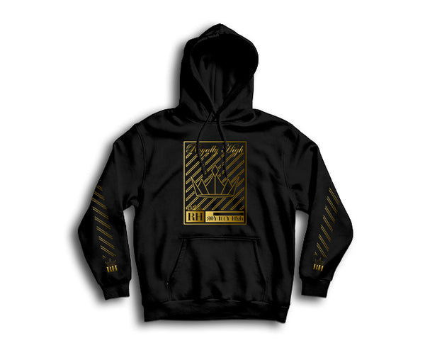 Royally High casual black hoodie with gold crown