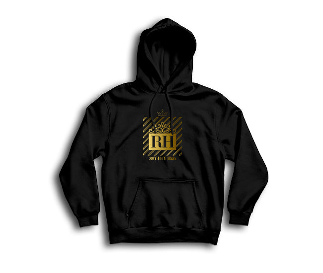Black streetwear hoodie with gold RH design