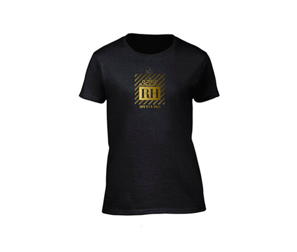 Black streetwear T-shirt with gold rh design for ladies
