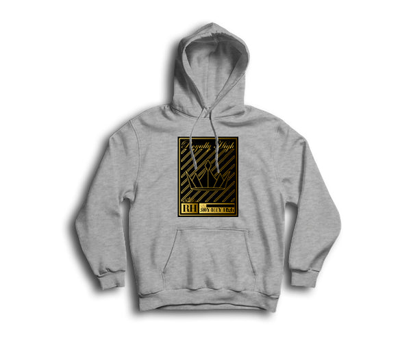 Heather Grey Hoodie with Gold Crown