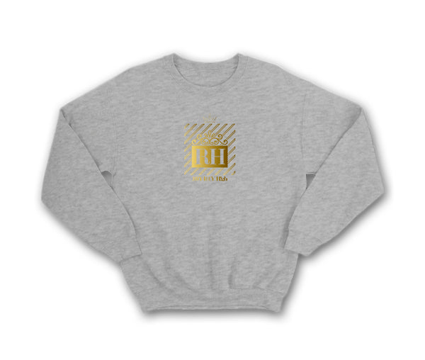 Heather Grey streetwear hoodie with gold RH design